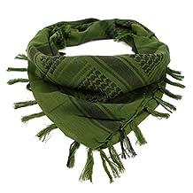 Fashion Story Men Army Military Tactical Arab Tassel Shawl Wrap Keffiyeh Shemagh (Green)