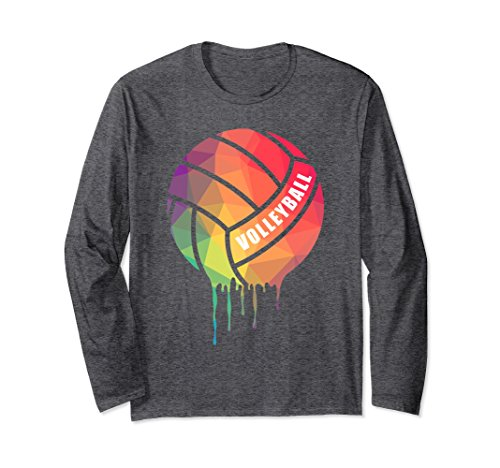 Volleyball Long Sleeve T-shirt (Unisex Cute Volleyball Long Sleeve T-Shirt for Girls, Women Small Dark Heather)