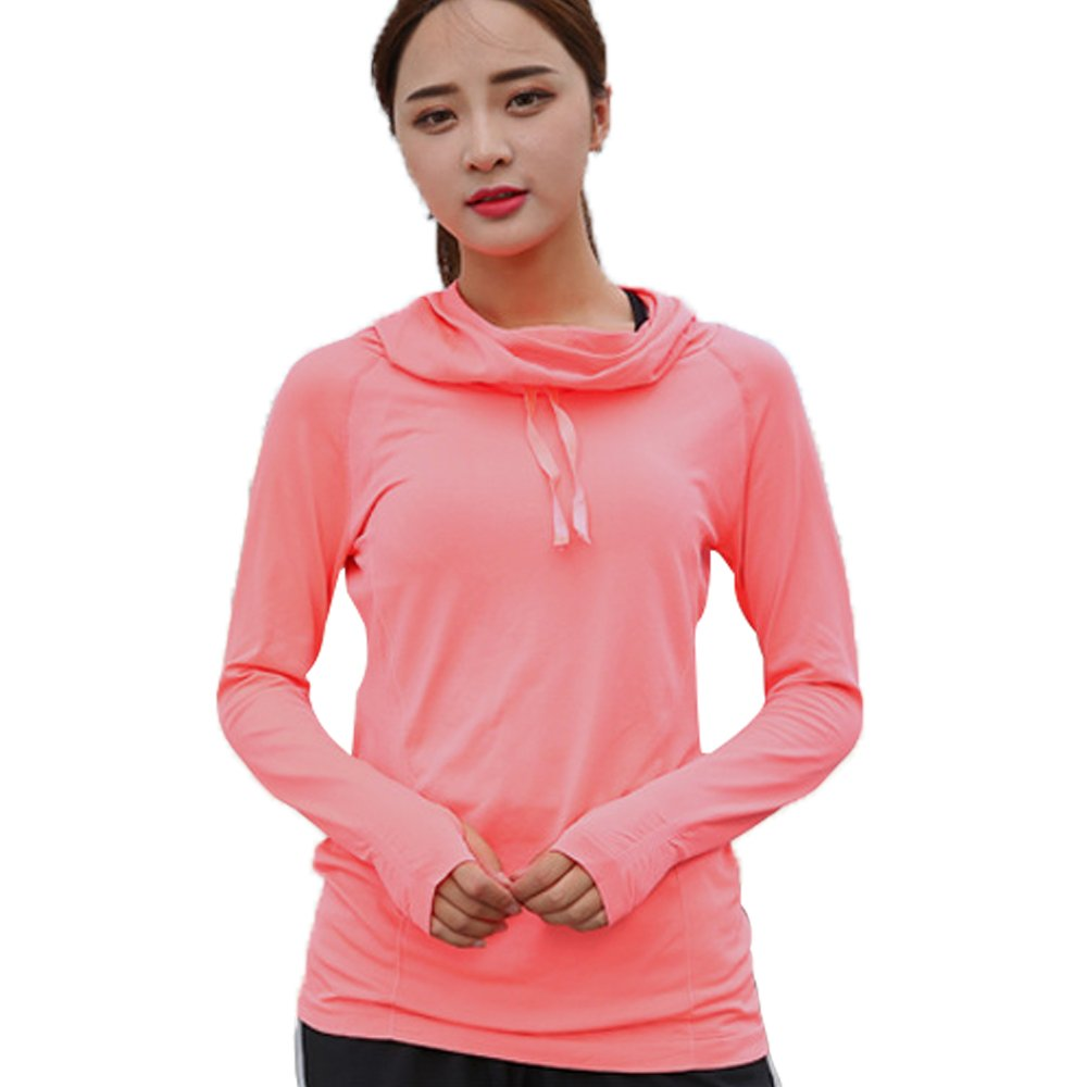Sport Hoodie for Women with Thumb Holes Long Sleeve Pull-Over Tops for Jogging Running Fitness