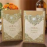 Laser Cut Invitations Cards Luxury Diamond Gloss Design for Wedding Bridal Shower Invitation Baby Shower Engagement Birthday Invitation Graduation 30pcs (Dark Gold)