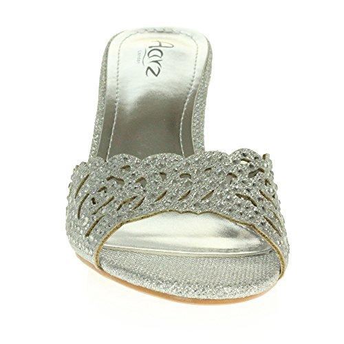 Taille Femmes Soir Mariage Fête Cristal Enfilr Moyen des Chaussures Talon Sandales Diamante Argent Dames f77AT