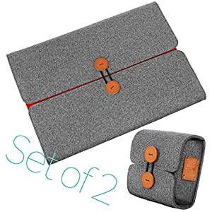 ELFRhino Wool Felt 14-15.4 Inch MacBook Pro Sleeve Laptop bag Case Handmade Tablet Bag with Charger Bag Fits for most 15 inch Laptop