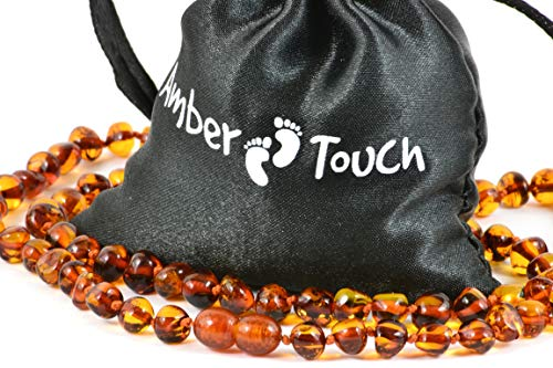 Baltic Amber Necklace for Adults + Amber Earrings - Headache, Migraine, Sinus, Arthritis, Carpal Tunnel, Nursing Pain Relief (23.6 inches (60 cm), Cognac)