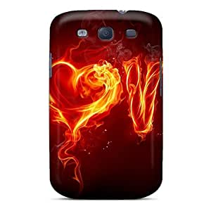 For Galaxy S3 Premium Tpu Case Cover Love On Fire Protective Case
