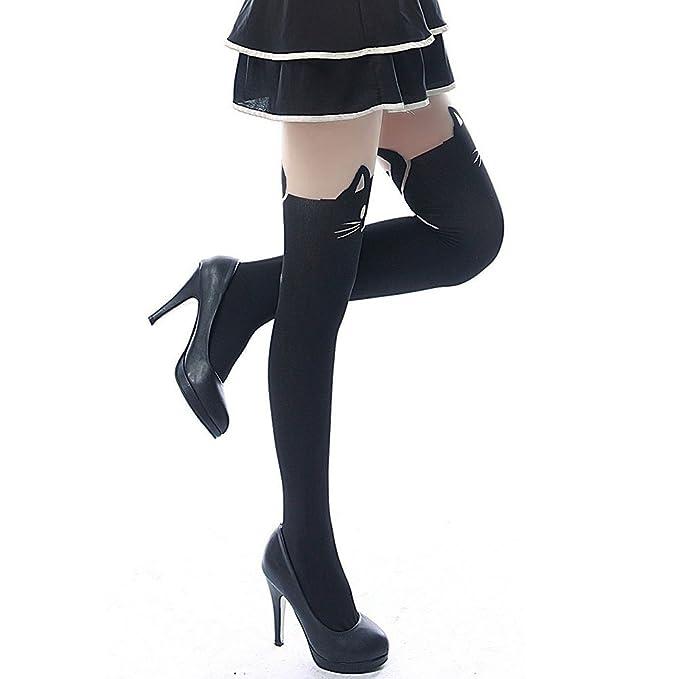 Hosaire Medias de la manera Stocking Negro con calcetines hasta la rodilla tatuaje gato para niñas, señoras que almacenan Panti: Amazon.es: Ropa y ...