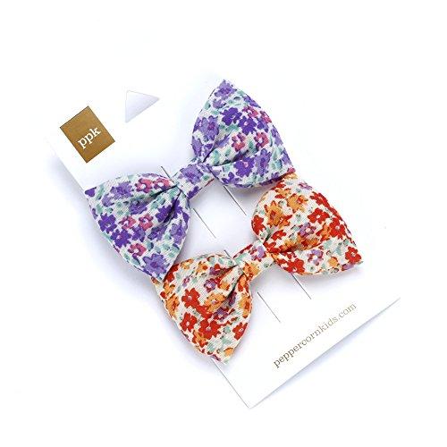 [해외]2-PC Floral Bow Hair Clip Set - Purple Orange / 2-PC Floral Bow Hair Clip Set - Purple Orange