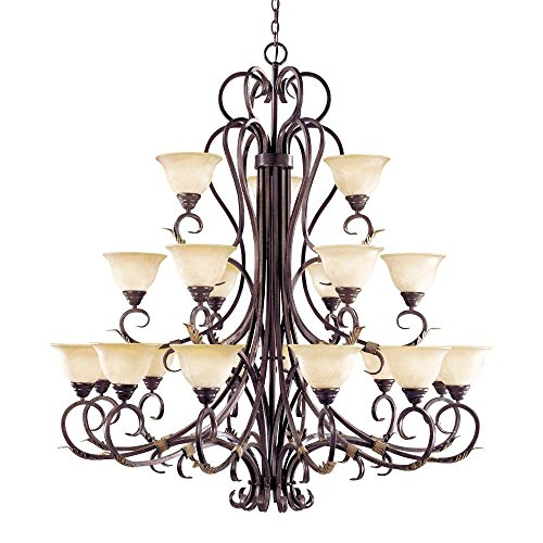 World Imports Lighting  2620-24 Olympus Tradition Collection 21-Light Hanging Crackled Bronze with Silver Chandelier