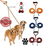 Double Dog Leash - GlowMark Pet Braided Tangle Free Dual Dog Leash For Your Clever Pet - No Tangle Double Walker !! (Yellow)