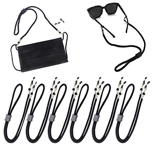 Face Mask strap Bandanas chain Eyeglass Lanyards Dual function for Face Shield and Glasses Strap Holder Eyewear Retainer Necklace glasses hanging for Women and Men (6 pcs, Black)