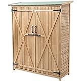 Goplus Outdoor Storage Shed Tilt Roof Wooden Lockable Storage Unit Fir Wood Cabinet for Garden with Two Doors