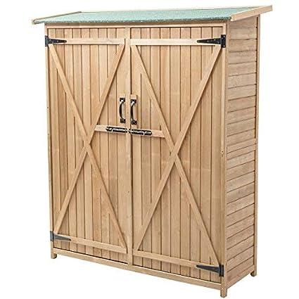 Exceptionnel Goplus Outdoor Storage Shed Tilt Roof Wooden Lockable Storage Unit Fir Wood  Cabinet For Garden With