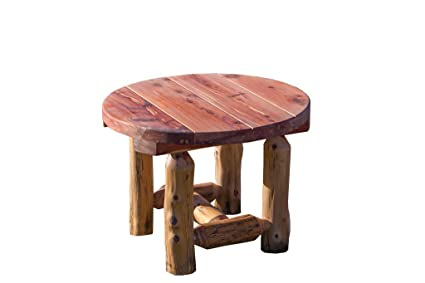 Rustic Red Cedar Log Outdoor Round Side Table - Amish Made in the USA - Amazon.com : Rustic Red Cedar Log Outdoor Round Side Table - Amish