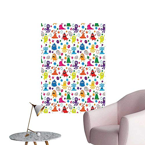 Wall Stickers for Living Room Fun Space Mascots Pattern in Colors Horror Germs Caricature Vinyl Wall Stickers Print,16