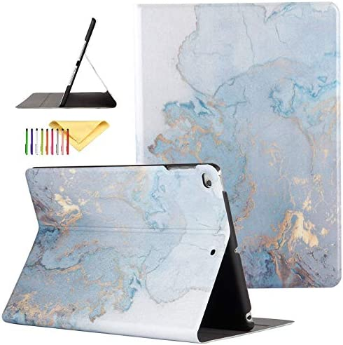 iPad 9.7 inch 2017/2018 Case/iPad Air/Air 2 Cover, Uliking [Marble Map Series] PU Leather Shockproof Shell Stand Smart Cover with Auto Wake/Sleep for Apple iPad 5th/6th Gen/iPad Air 1/2, Gold Map