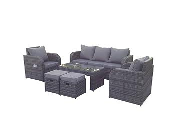 yakoe 7 seater rattan garden furniture sofa set plus reclining chairs outdoor grey