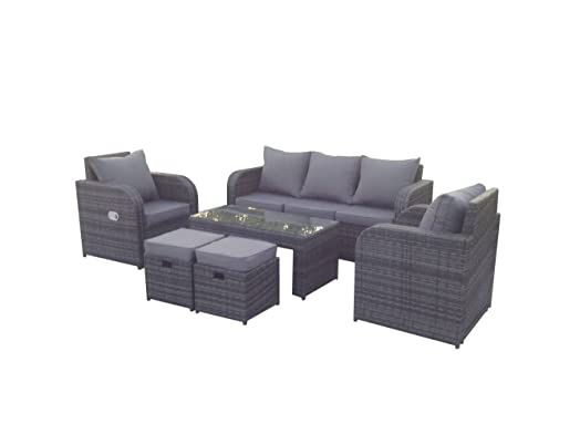 yakoe rattan garden furniture sofa set plus reclining chairs grey