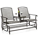 Best Choice Products 2-Person Outdoor Mesh Fabric Patio Double Glider w/Tempered Glass Attached Table - Gray
