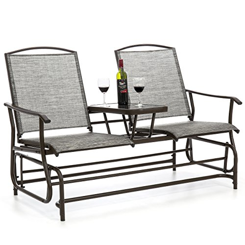 Best Choice Products 2-Person Outdoor Mesh Fabric Patio Double Glider w/Tempered Glass Attached Table - Gray - Glider Outdoor Bench