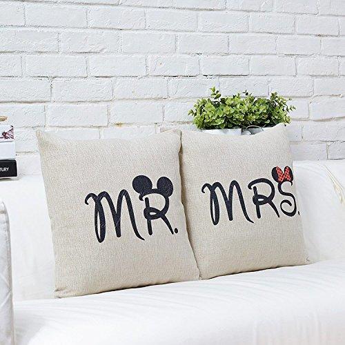 CIDBEST/® Mr Mrs Kissenbez/üge Liebhaber Hochzeit Kissen retro Baumwolle Kissen Buch Hochzeitsgeschenk Kaffee zuruck hotel Kissenbezug