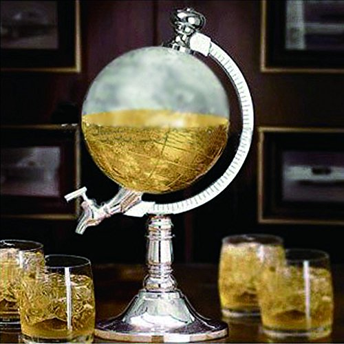 Umiwe Novelty Globe Shaped Beverage Liquor Dispenser Drink Wine Beer Pump Single Canister Pump Bar Wine (Pink Ribbon Photo Italian Charm)
