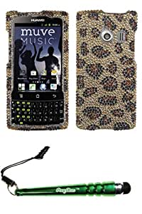 FoxyCase(TM) FREE stylus AND HUAWEI M660 (Ascend Q) Leopard Skin Camel Full Diamond Bling Protector Cover cas couverture
