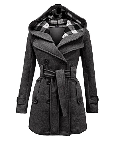 DianShao Femme Trench Coat Chaud Double Boutonnage Manteau Chaud Manche Longue Outwear Gris Fonc
