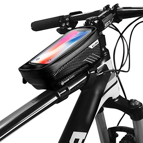Wanfei Bike Bicycle Phone Bags, Waterproof Top Tube Handlebar Storage Bag with Touch Screen Phone Case, Front Phone Mount Bag for Cellphone Below 6.5 Inch