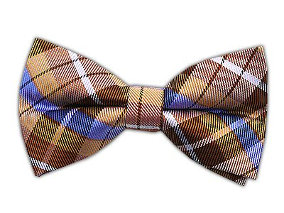 100% Woven Silk Gold Plaid Self-Tie Bow Tie
