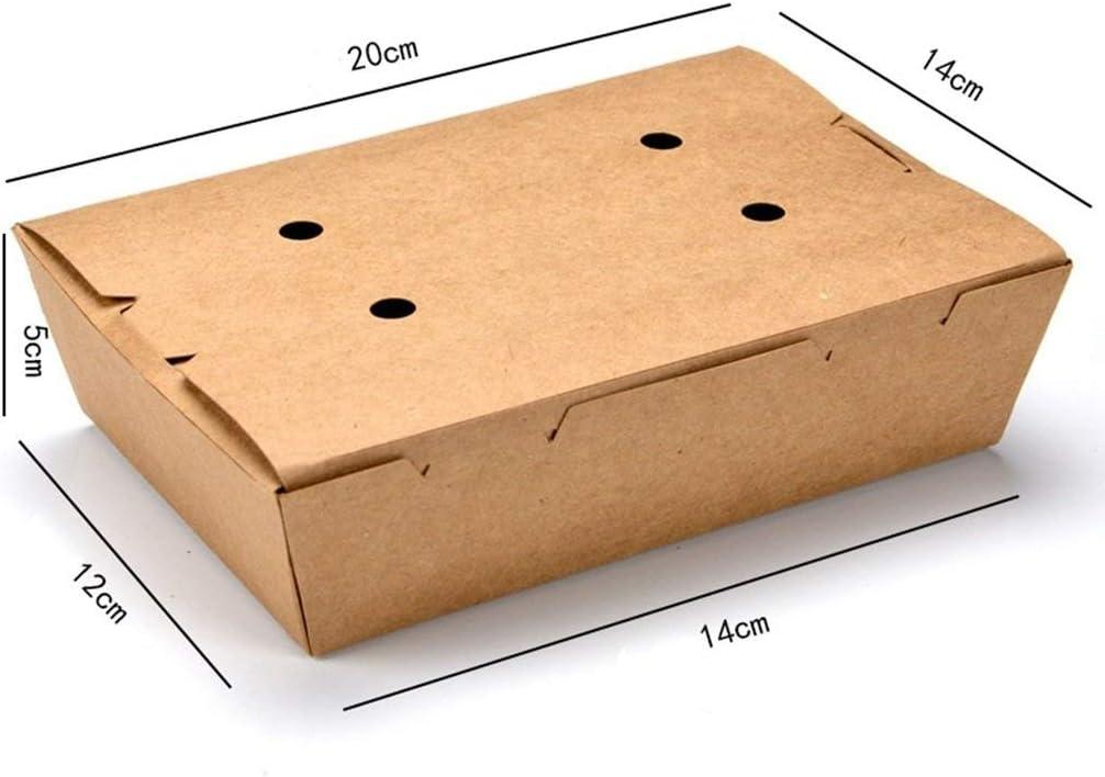 WML Bowl Vajilla Caja de Almuerzo de Papel Kraft Caja de Almuerzo desechable Comida para Llevar Caja de bocadillos Caja de bocadillos Caja de almuerzos Bocadillo Hamburguesa Pollo Frito con Agujeros: Amazon.es: