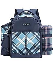 Eono Essentials 4 Person Picnic Backpack Hamper Cooler Bag con Juego de Mesa y Manta
