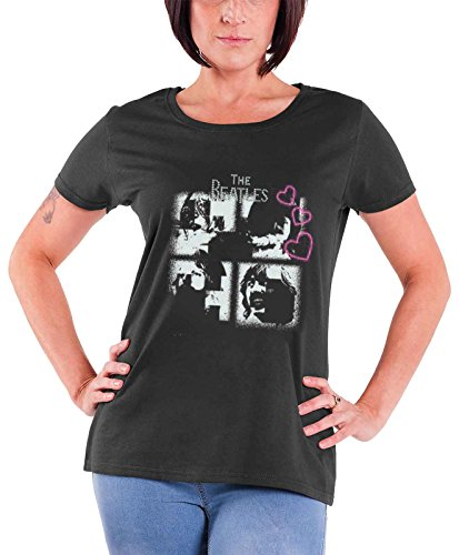 The Beatles T Shirt Let it be Rhinestone hearts Official Womens New Junior Fit
