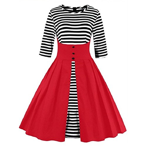 Damen 42 XL Cocktail Retro M1335 Kleid Rot Vintage 50er EU DISSA Rockabilly wCfaqz