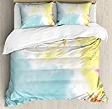 Starfish Decor Duvet Cover Set Queen Size by Ambesonne, Holiday in Hawaii Watercolor Art Dreamy Seacoast with Colorful Starfishes, Decorative 3 Piece Bedding Set with 2 Pillow Shams, Multicolor