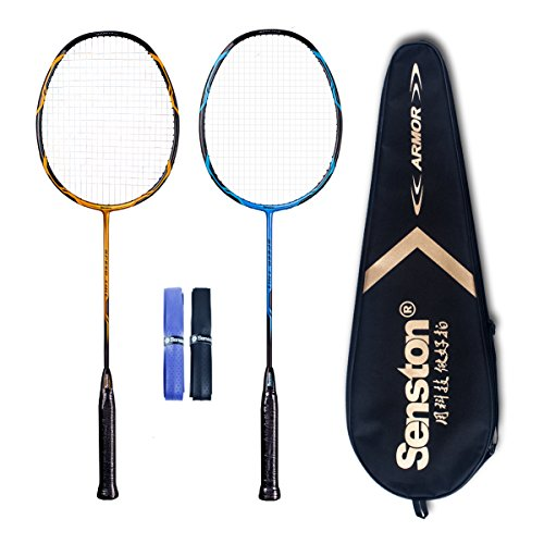 Senston - High Grade 2 Player Graphite Badminton Racket Set - Including 1 Badminton Bag/2 Rackets/2 Grip(Blue+Yellow)