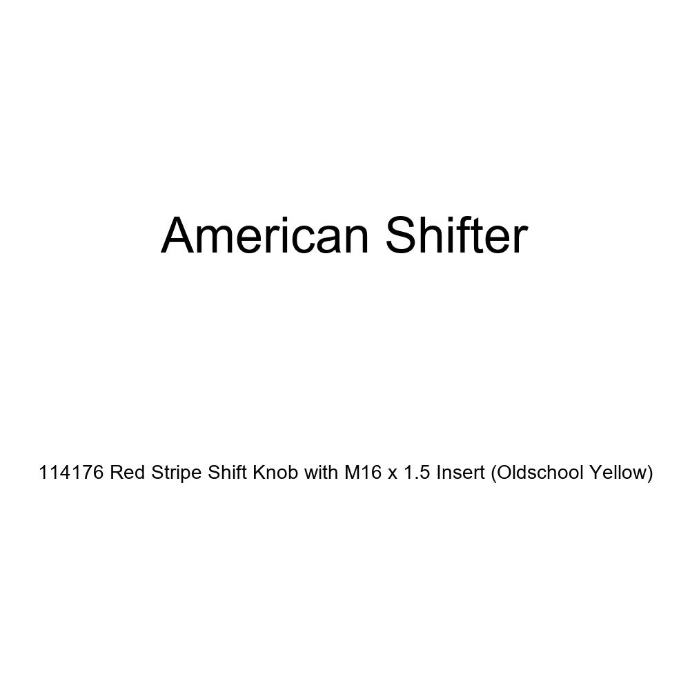 Oldschool Yellow American Shifter 114176 Red Stripe Shift Knob with M16 x 1.5 Insert