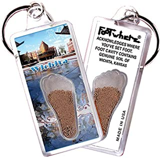 """product image for Wichita, KS """"FootWhere"""" Souvenir Keychain. Made in USA (WCT103 - Plaza)"""