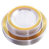 60 Piece Disposable Gold Plates, Plastic Clear Plates -Wedding Plate sets Includes:30 Dinner Plates and 30 Salad or Dessert plates