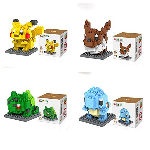 JIAHUI 4box Pokemon Go Diamond Block Pikachu Bulbasaur Eevee Squirtle Pokemon Monster Building Kit Parent-child DIY Games Building Blocks Children's Educational Toys Party Supplies Collection Gift
