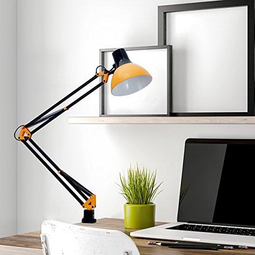 ToJane Swing Arm Desk Lamp, Architect Table Lamp,Adjustable Arm Drafting/Task/Artists/Bedroom Orange Clamp Light(Bulb Sold Separate)