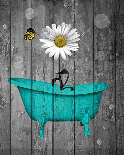 Teal Yellow Wall Decor, Rustic Bath Artwork, Floral Farmhouse Country 8x10 Inch Picture With 11x14 White Mat ()