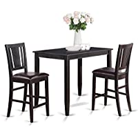 East West Furniture BUCK3-BLK-LC 3-Piece Counter Height Dining Table Set, Black Finish