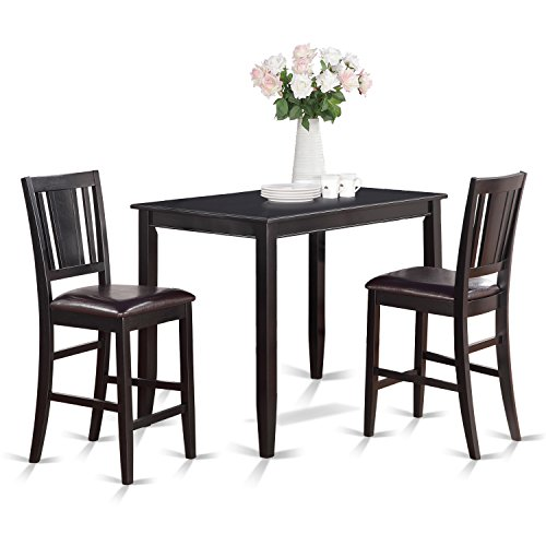Black Finish 3 Piece - East West Furniture BUCK3-BLK-LC 3-Piece Counter Height Dining Table Set, Black Finish