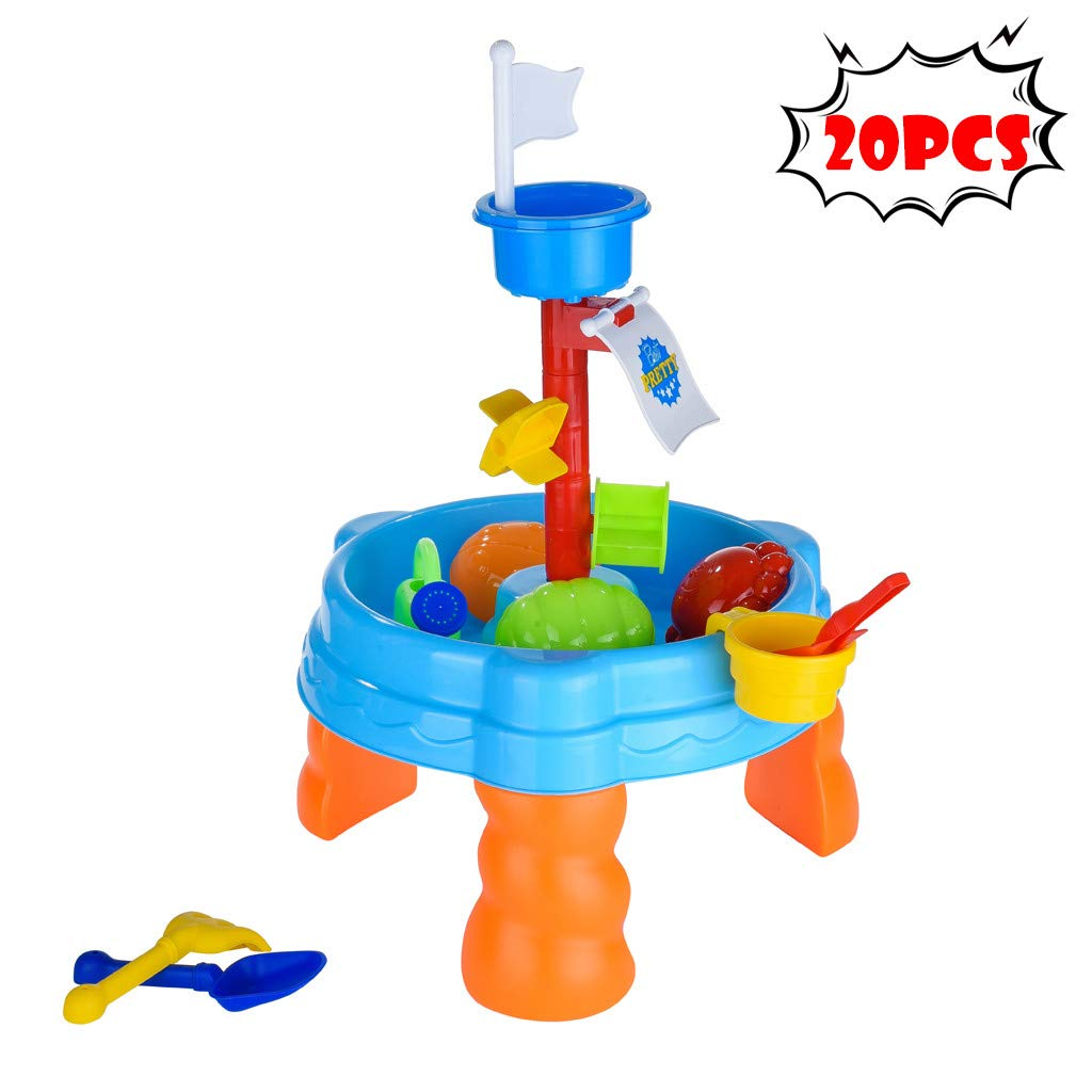 Wotryit Seas Waterpark Play Table -Round Sand Table Game Table Summer Beach Game Toy Sandglass Play Kids Sand 20PCS by Wotryit