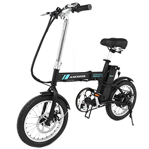 "Ancheer 16"" Folding Electric Bike With 36V 6Ah Lithium Battery, 250W Powerful Brushless Gear Motor (Black)"