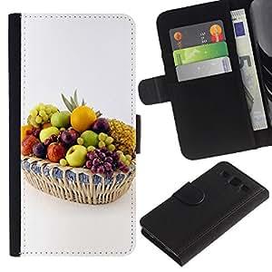 KingStore / Leather Etui en cuir / Samsung Galaxy S3 III I9300 / Frutas Uvas Blancas