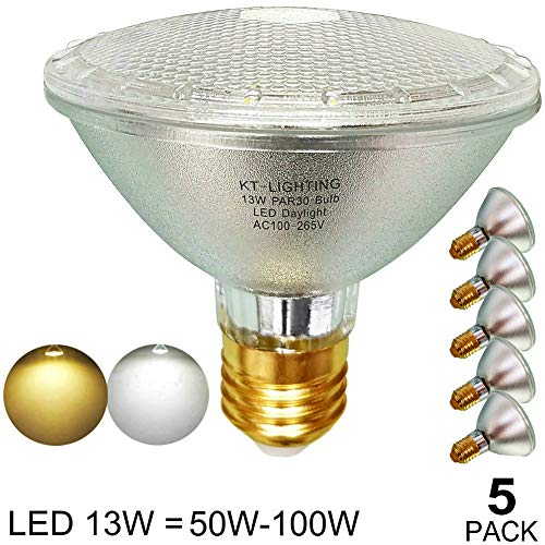 Glass Reflector LED PAR30 Bulb Flood Light,Short Neck,PAR30 LED Daylight/Bright White 5000K/6000K,Waterproof,Indoor/Outdoor,120V,E26 Base,13-Watts(=50W/60W/75W/90W/100W Halogen Replacement)45-Degree