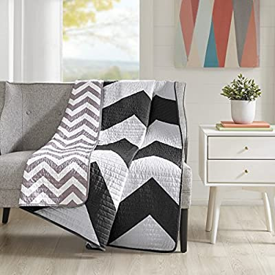 Mi Zone Libra Luxury Oversized Quilted Throw Black 6070    Premium Soft Cozy Microfiber For Bed, Coach or Sofa - PRODUCT FEATURES- The Libra quilted throw can update the look and feel of your room. A herringbone print black and solid white chevron design on one side and a scaled-down chevron reverse catches your eye instantly SUPERIOR QUALITY FABRIC- Ultra-soft, wrinkle resistant fabric that is more durable and breathable in reverse part MEASUREMENT- 1 Throw:60(W) x 70(L) Inches - blankets-throws, bedroom-sheets-comforters, bedroom - 515QtQaKfBL. SS400  -