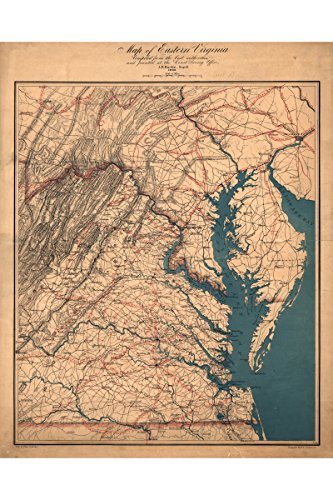 Map of Virginia Eastern Shore, Chesapeake Bay; Antique Map, (Virginia Antique Map)