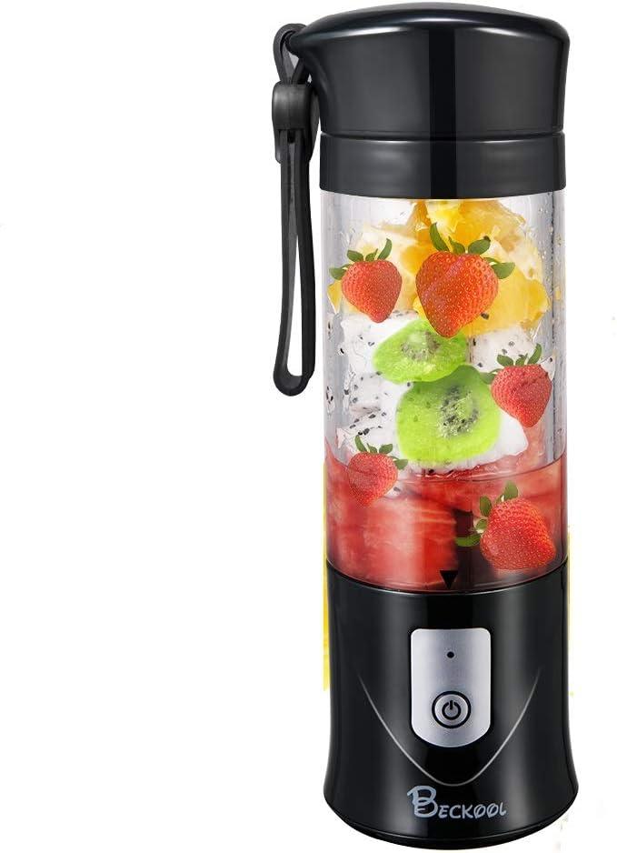 Portátil exprimidor licuadora, beckool viajes personales USB mezclador Juice taza con 6 cuchillas y más potente motor, 14 oz botella, 4000 mAh batería recargable: Amazon.es: Hogar