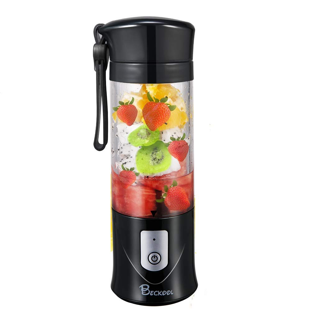 Portable Juicer Blender, Beckool Travel Personal USB Mixer Juice Cup with Updated 6 Blades and More Powerful Motor, 13Oz Bottle, 4000mAh Rechargeable Battery-Black by Beckool